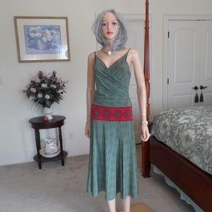 BCBG Maxazria Forest Green/Brown Surplice Dress S